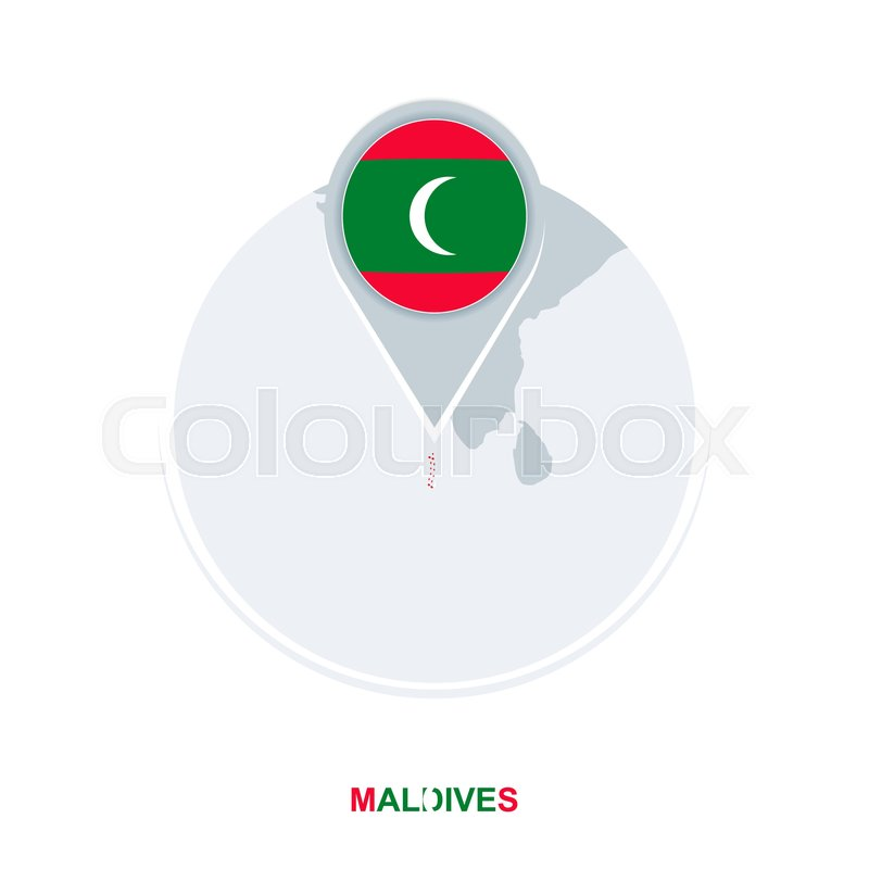 Maldives map and flag, vector map icon ... | Stock vector | Colourbox