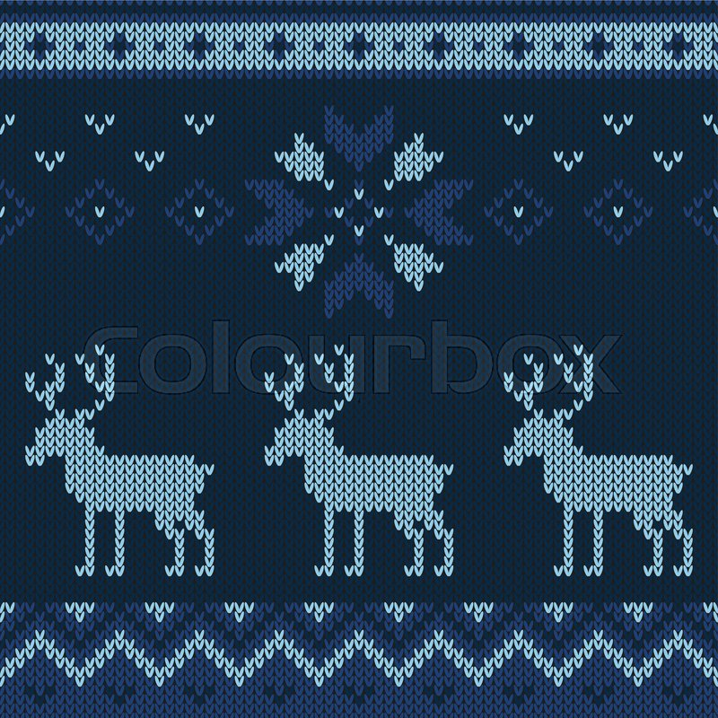 Christmas Knitted Pattern Winter Stock Vector Colourbox