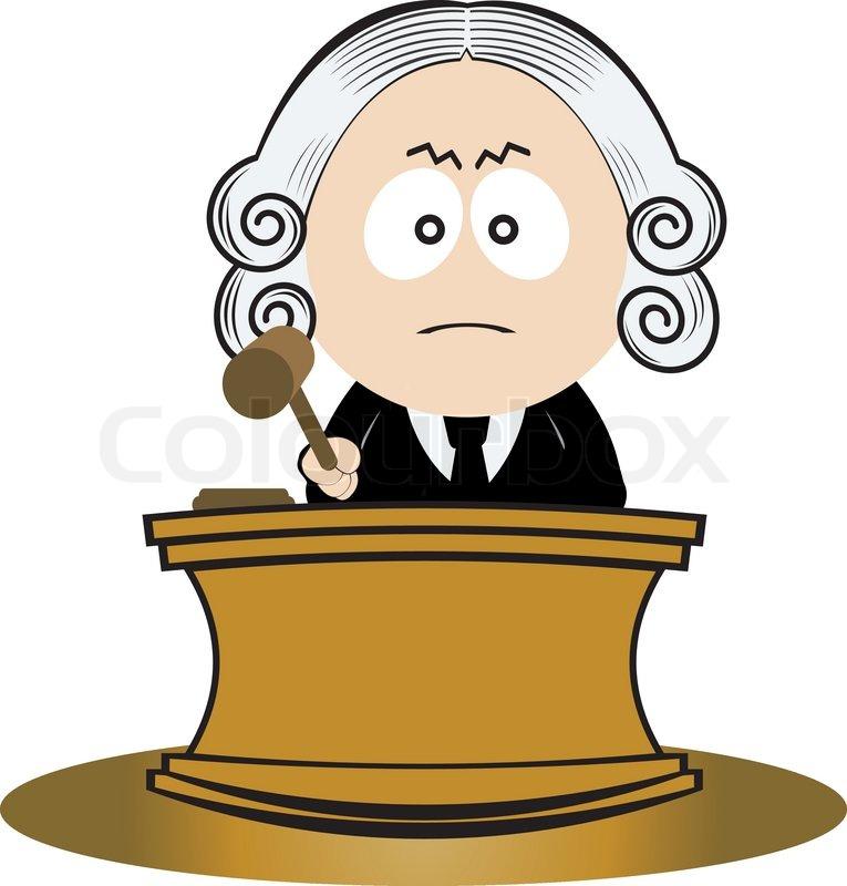 Richter mit seinem Hammer Stock Vektor