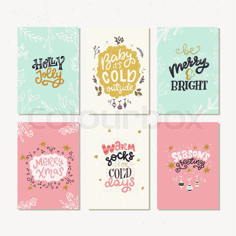 hand lettering with christmas saying quotes and greetings new year gift tags made in vector stock