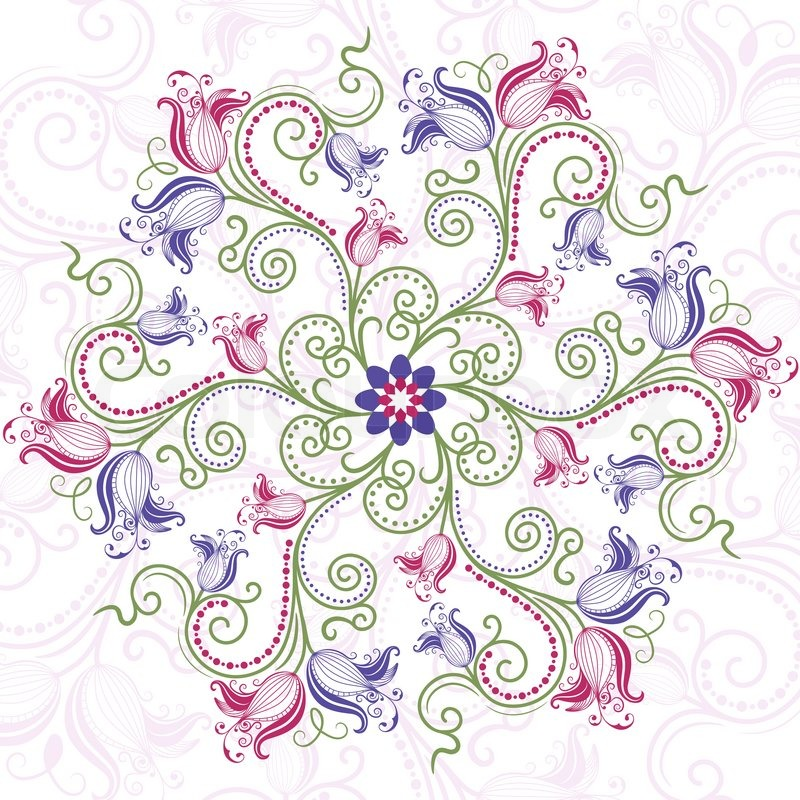 colorful floral round frame