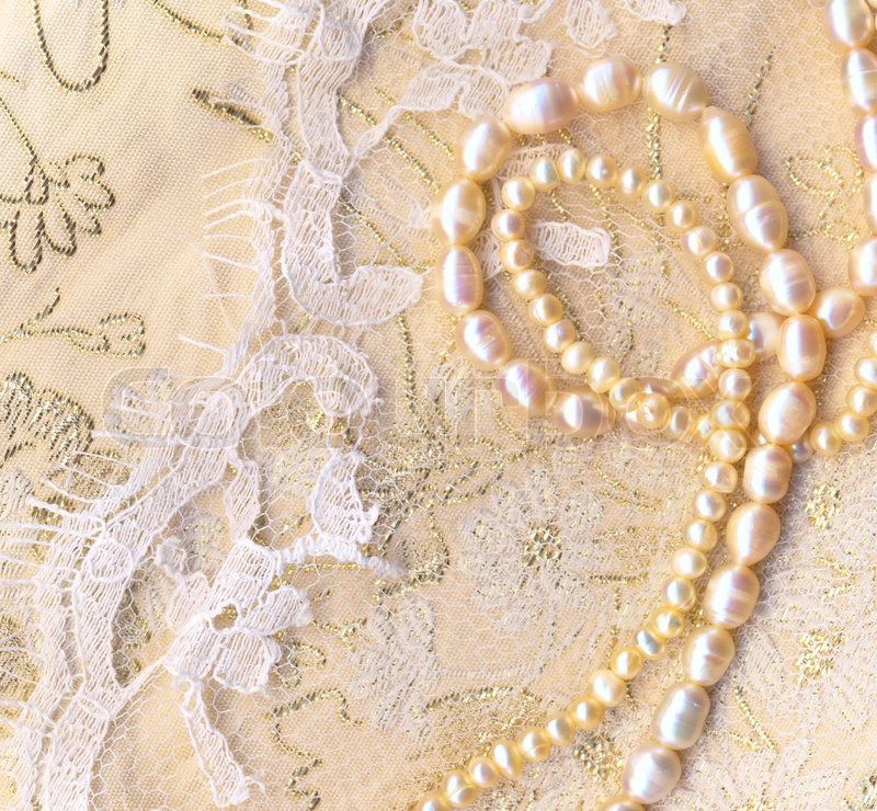 Nice wedding background with pearls | Stock Photo | Colourbox