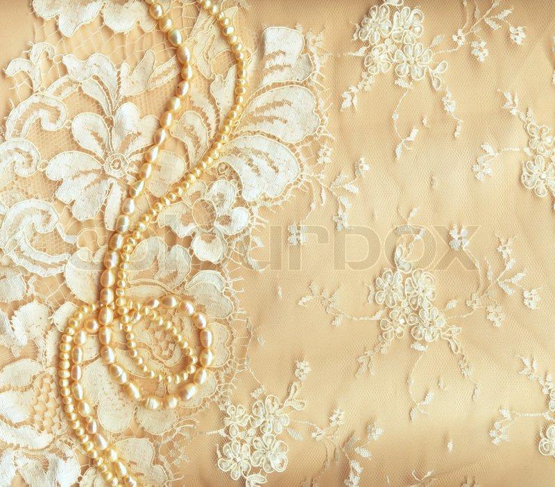 Wedding background with cream silky decoration accessories, lace