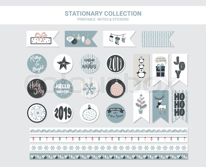 photograph relating to Printable Christmas Stationary identified as Hipster Fresh new Calendar year and Merry Xmas  Inventory vector