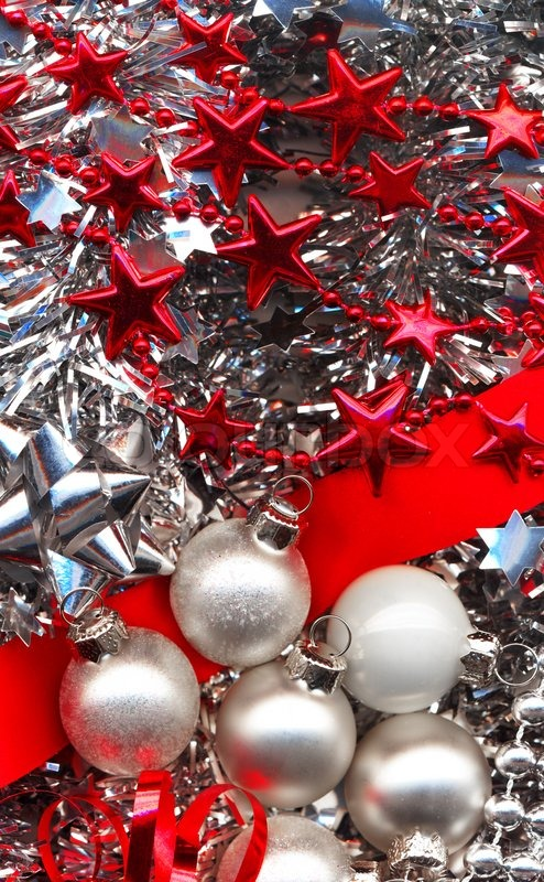 different christmas decorations in red and silver colours stock photo colourbox - Different Christmas Decorations