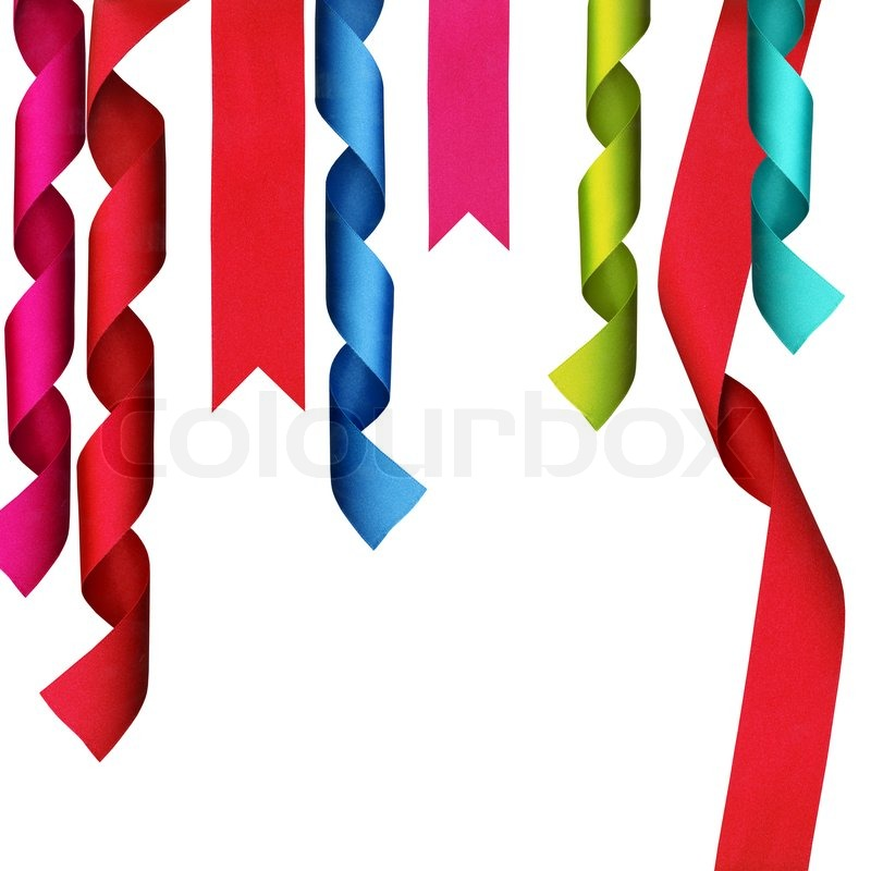 christmas decoration ribbons with clipping path stock