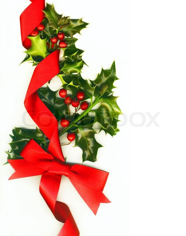 weihnachten hintergrund mit stechpalme und roter schleife. Black Bedroom Furniture Sets. Home Design Ideas