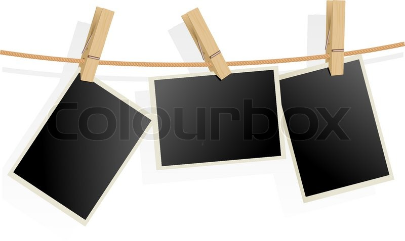 Three Photo Frames On Rope Stock Vector Colourbox
