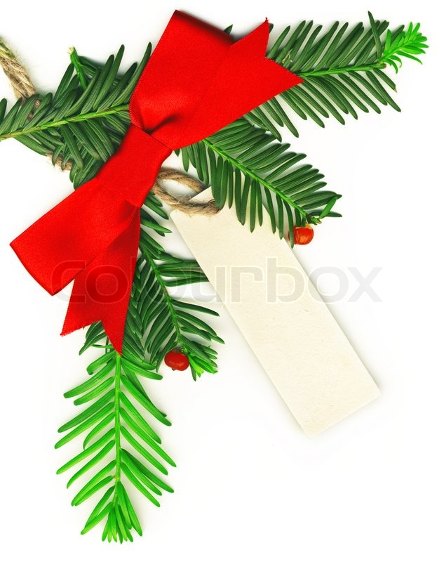 Christmas Border With White Empty Tag Isolated On Background