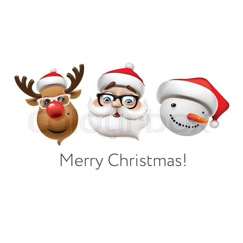 Christmas Emojis.Holiday Emoticon Set Icons Christmas Stock Vector