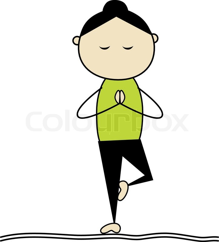Woman Practicing Yoga Tree Pose Stock Vector Colourbox