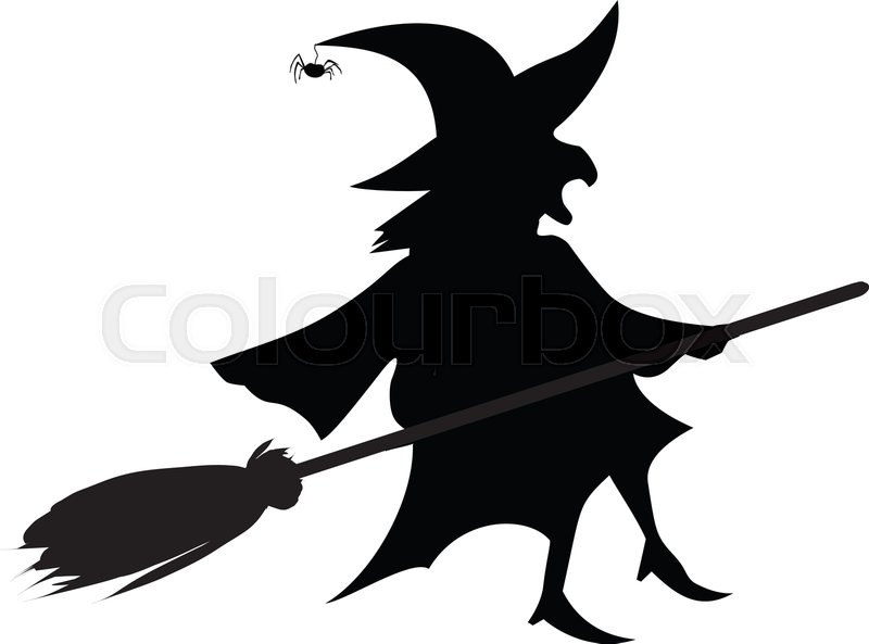 Black Silhouette Of Witch In Hat And Stock Vector Colourbox