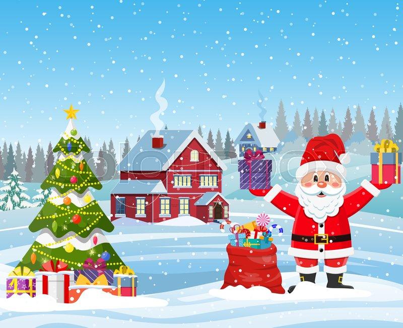 Snowing Christmas Scene.A House In A Snowy Christmas Stock Vector Colourbox