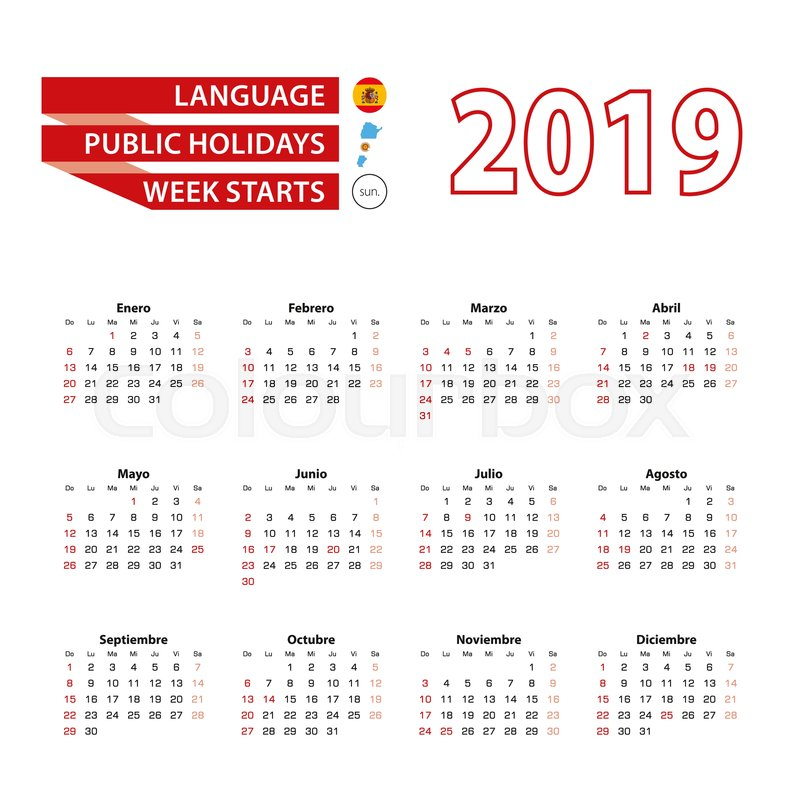Calendario Julio 2019 Vector.Calendar 2019 In Spanish Language With Stock Vector