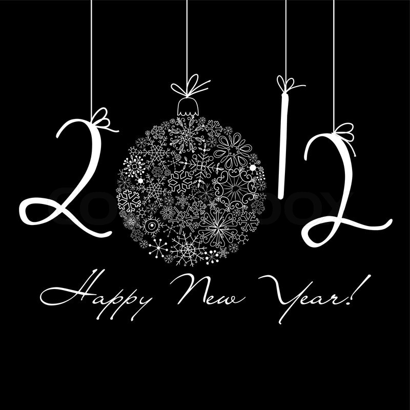 2012 happy new year background black and white background stock vector colourbox