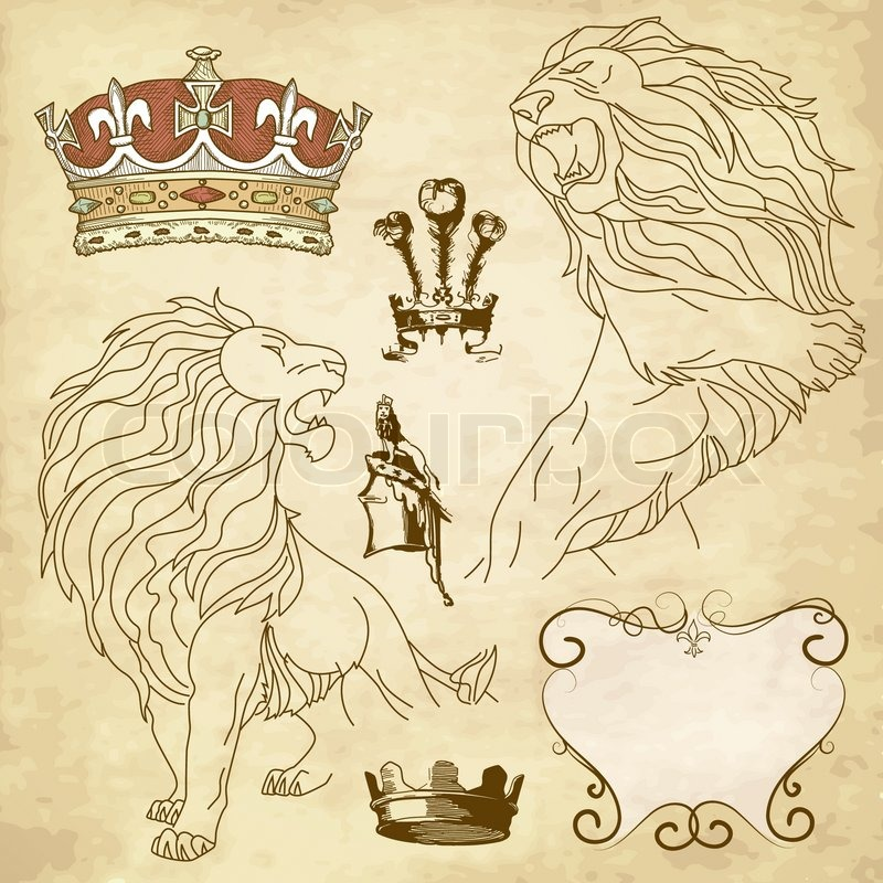Set Of Lion And Crown Heraldry Stock Vector Colourbox