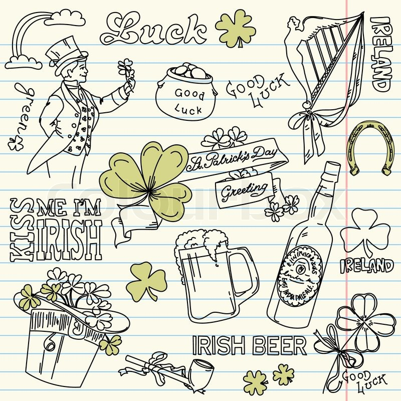 Saint Patrick 39 S Day Doodles Vintage Style Stock Vector