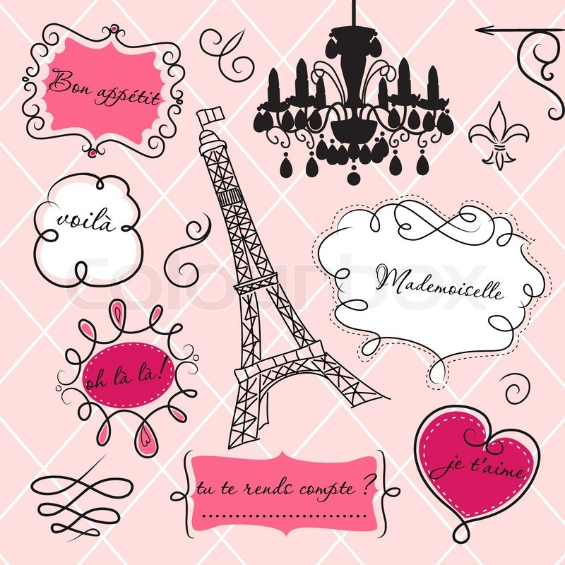 doodle frames in french style stock vector colourbox rh colourbox com French Couture Clip Art Paris Fashion Clip Art