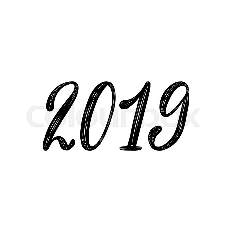 happy new year 2019 hand lettering stock vector colourbox happy new year 2019 hand lettering