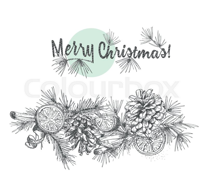 Christmas Garland Realistic Botanical Stock Vector Colourbox