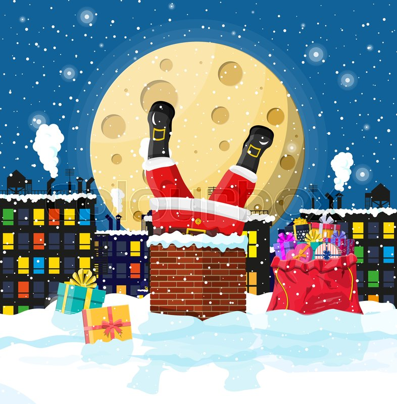 santa claus with bag with gifts stuck in house chimney gift boxes in snow happy new year decoration merry christmas eve holiday