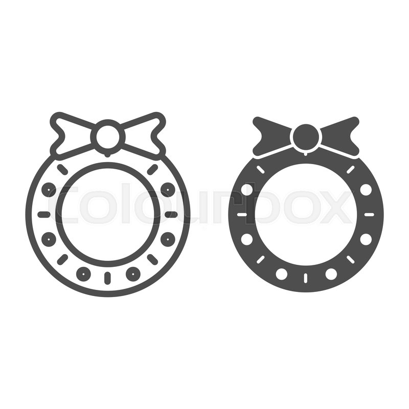 Christmas Wreath Line And Glyph Icon Stock Vector Colourbox