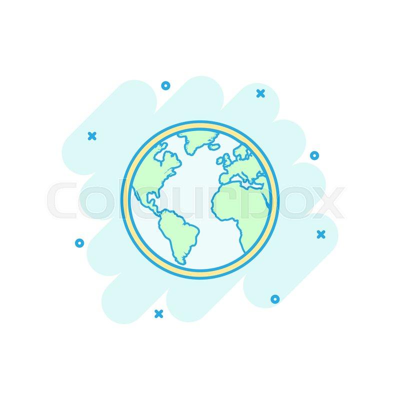 Vector cartoon globe world map icon in     | Stock vector