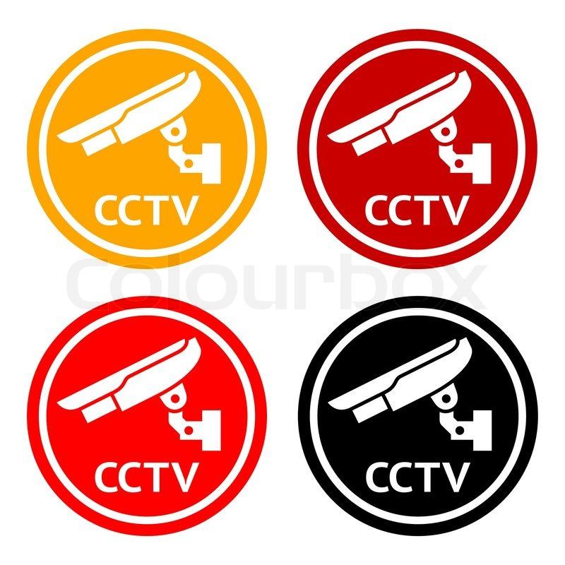 Cctv Pictogram Set Symbol Security Camera Stock Vector
