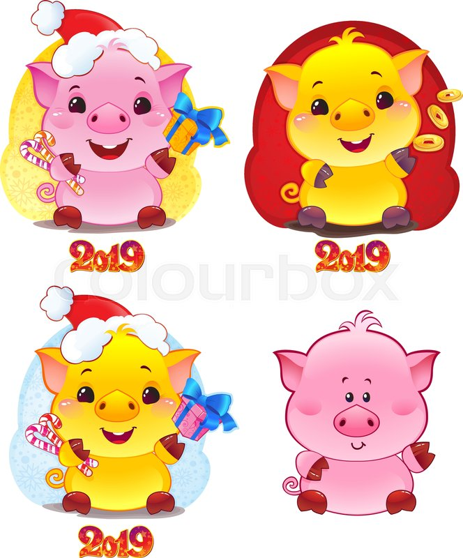 set of symbols of chinese horoscope for 2019 cute piglet in cartoon style happy 2019 new year card stock vector colourbox