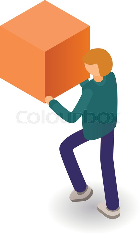 Man take cube icon  Isometric of man     | Stock vector