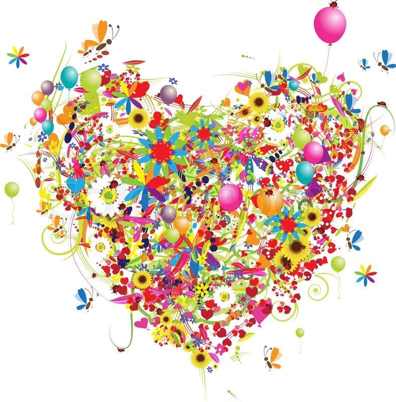 Happy Holiday Funny Heart Shape With Ballons Stock