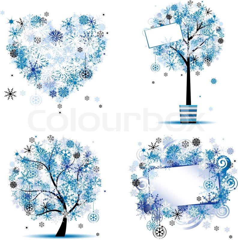winter style tree frames heart for your design stock vector colourbox - Winter Frames