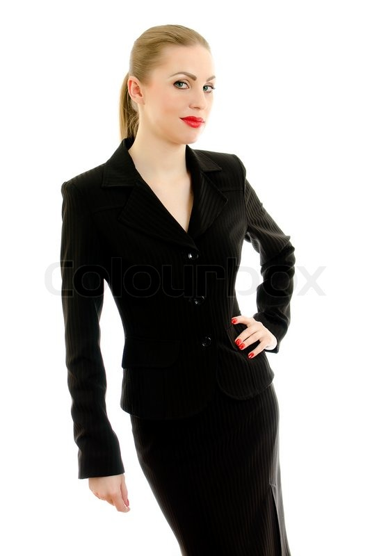 executive woman in black suit isolated on white stock photo colourbox. Black Bedroom Furniture Sets. Home Design Ideas