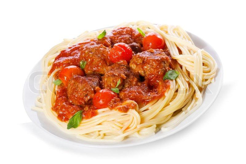 Pasta with meatballs and tomato sauce | Stock Photo | Colourbox