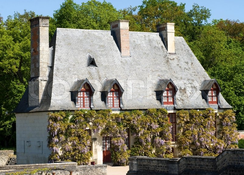 typical old house with flowers. loire valley, france. | stock