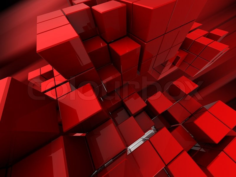 Abstract 3d Illustration Of Red Cubes Background Stock