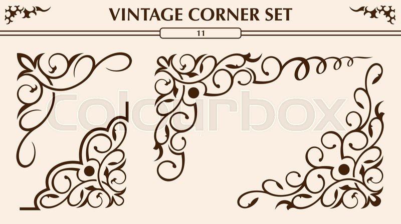 Set of different vintage corner design     | Stock vector