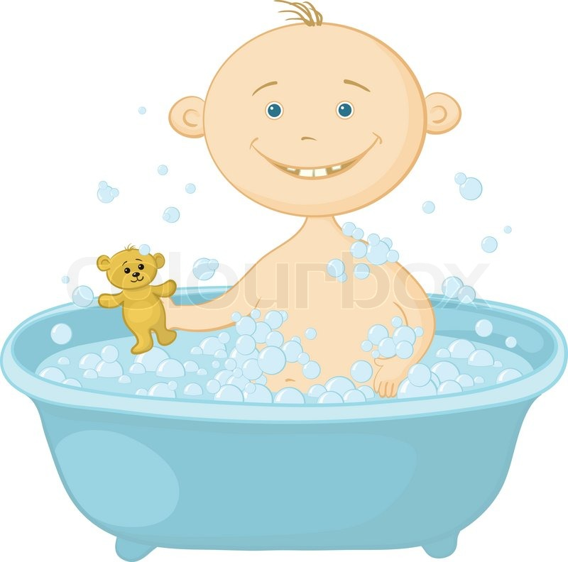 Baby wash in the bath | Stock Vector | Colourbox