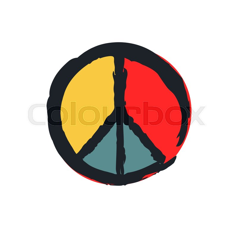 Peace sign colorful drawing isolated     | Stock vector