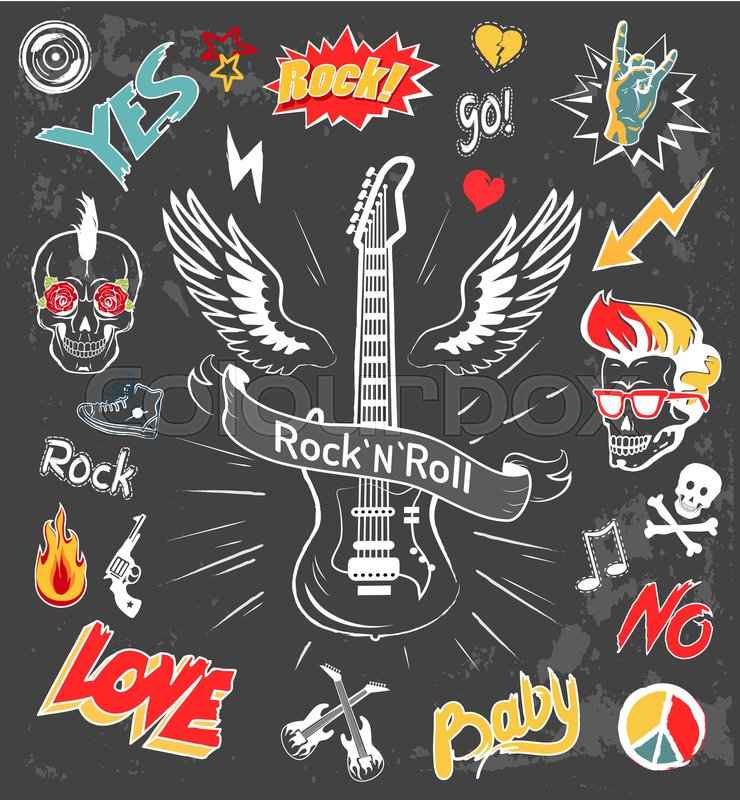 8dfb989fd Rock-n-roll forever icons set. Love ... | Stock vector | Colourbox