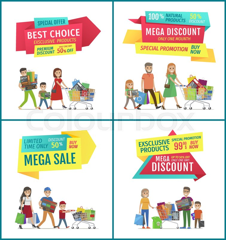 Best choice and mega sale discount ad       Stock vector