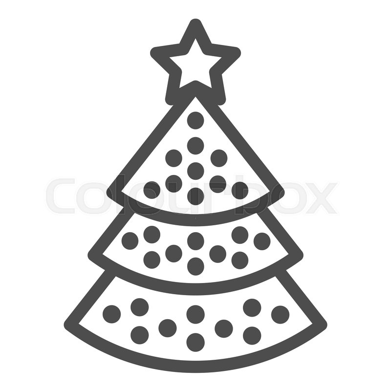 Christmas Tree Line Icon Christmas Stock Vector Colourbox