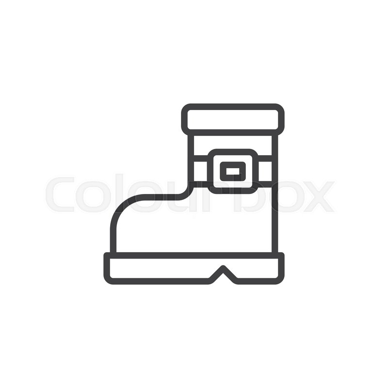 Winter boot outline icon. linear style