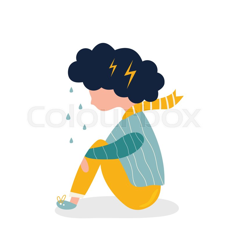 Sad And Depressed Girl Sitting Alone Stock Vector Colourbox