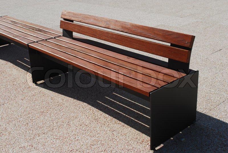 Modern Wood Bench ~ Modern wooden bench stock photo colourbox