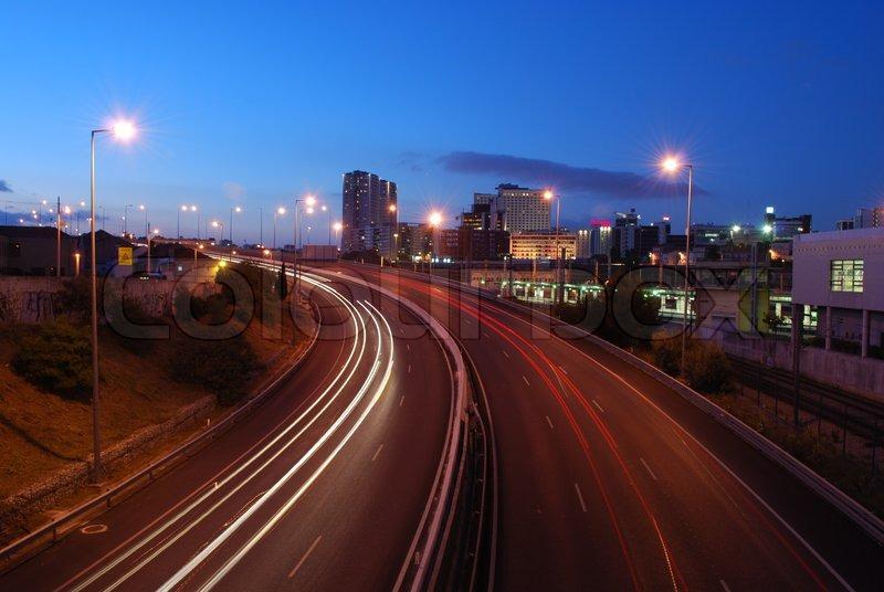 Freeway traffic on the city car blur motion, stock photo