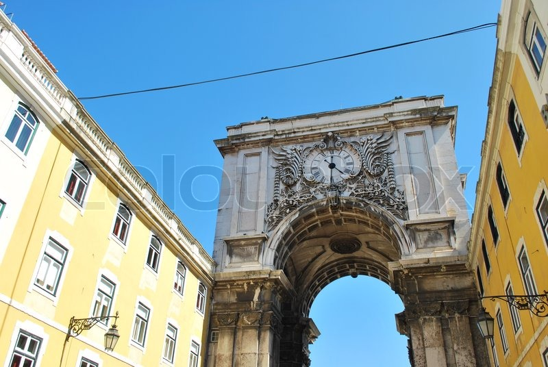 Arch crossing from Augusta street to Commerce square in Lisbon, Portugal, stock photo