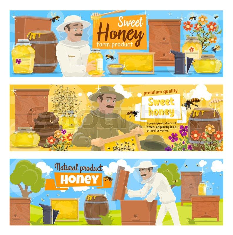 Beekeeping farm and beekeeper vector     | Stock vector | Colourbox