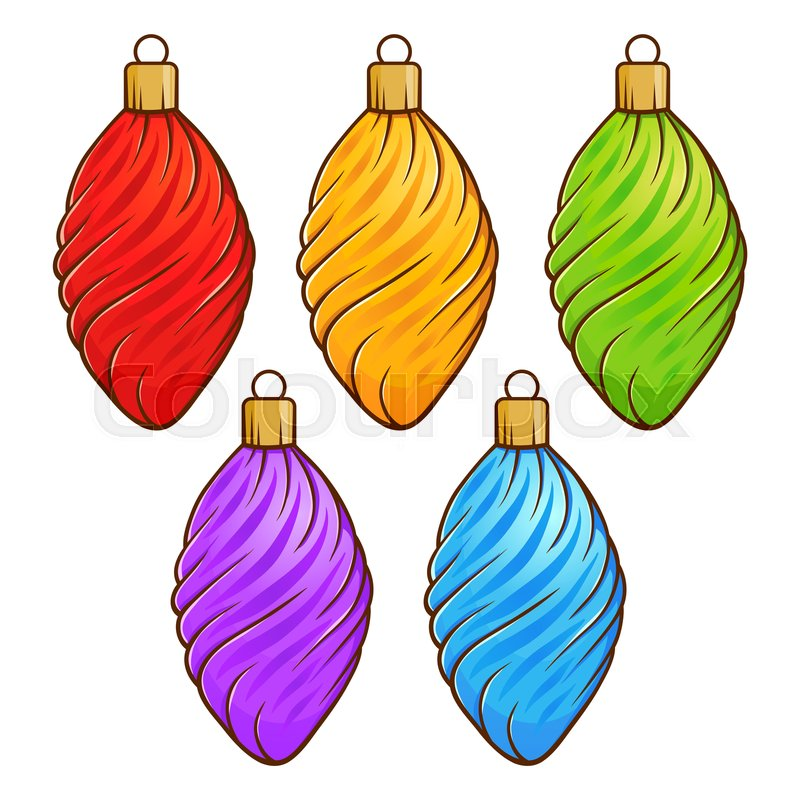 Colorful Christmas Ornaments Drawings.Colorful Christmas Decoration Set Stock Vector Colourbox
