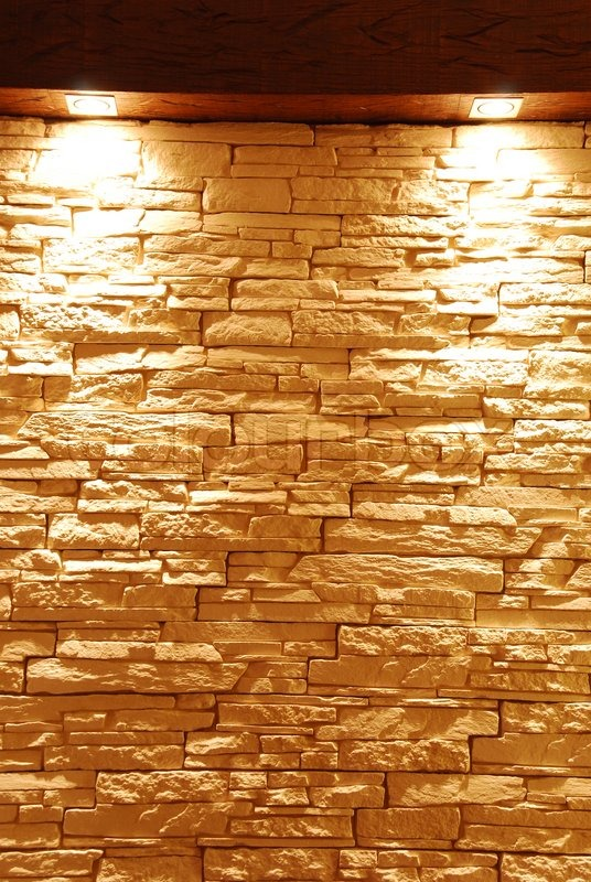 Unshaped Stone Wall With Spot Lights Stock Photo Colourbox